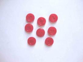 Kunststof knoop mat met cirkel Rood 15mm. 481-S15