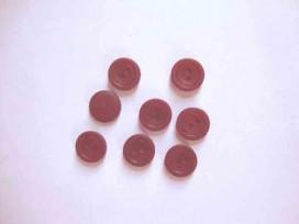 Kunststof knoop mat met cirkel Donkerrood 15mm. 484-S15