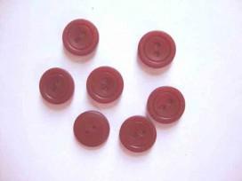 Kunststof knoop mat met cirkel Donkerrood 18mm. 485-S15