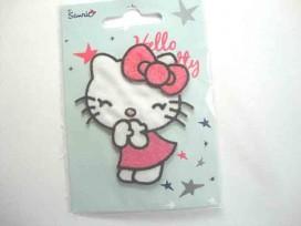Een Hello Kitty opstrijkbare applicatie van 7 x 7 cm.