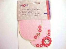 2 kniestukken Roze met bloem gezichtje 050.013