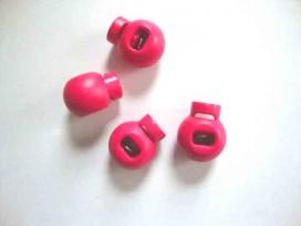 Pink kleurige kleine bolle koordstopper. 18x15 mm.