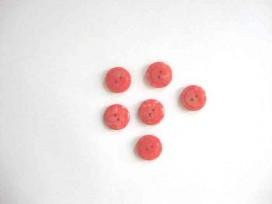 Kunststof knoop glanzend gemeleerd met cirkel Rood 15 mm. 634-S17