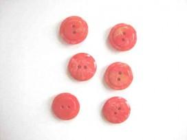 Kunststof knoop glanzend gemeleerd met cirkel Rood 18 mm. 635-S17
