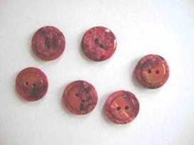 3h Kunststof knoop glanzend gemeleerd met cirkel Bordeau 18 mm. 637-S17