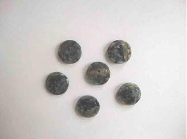 Kunststof knoop glanzend gemeleerd met cirkel Do.blauw 15 mm. 640-S16
