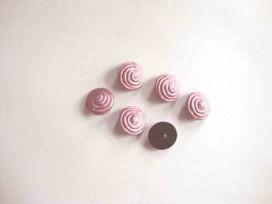 3e Kunststof knoop met krul op steeltje Oud roze 15 mm. 654-S18