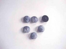 Kunststof knoop met krul op steeltje Oud blauw 15 mm. 656-S18