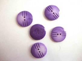 Kunststof knoop in 2 maten Paars met streepjes 25 mm.