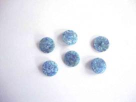Kunstof knoop in 2 maten Glad blauw gemeleerd op steeltje 18 mm. kk2m-1018