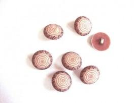 Kunststof knoop in 2 maten Bruin met cirkels op steeltje 15 mm. kk2m-1024