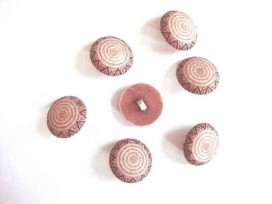 Kunststof knopen in 2 maten Bruin met cirkels op steeltje 22 mm. kk2m-1025