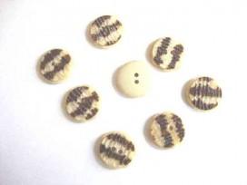Kunststof knoop in 2 maten Offwhite/bruin gevlekt 20 mm. kk2m-1029