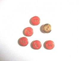 Kunststof knoop in 2 maten Oranje/goud 2-gaats 15 mm. kk2m-1032