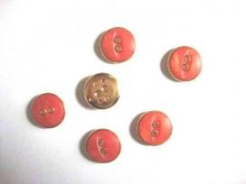Kunststof knoop in 2 maten Oranje/goud 2-gaats 18 mm. kk2m-1033