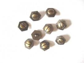 5i Metal look knoop Oud goud 6 hoekig 15 mm. ml1118