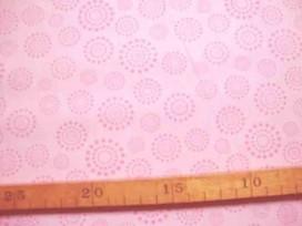 Katoen Stip en cirkel TST Zachtroze roze 9308-11N