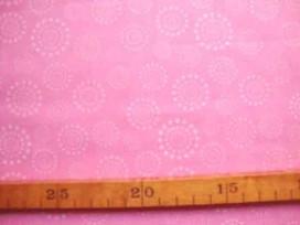 Katoen Stip en cirkel TST Roze Zachtroze 930812N