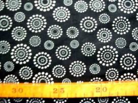 Katoen Stip en cirkel TST Zwart Wit 9308- 69N