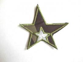 Leger applicatie Ster met witte ster en legergroen randje leger 21