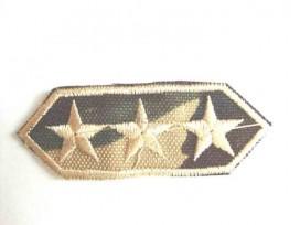 Leger applicatie Langwerpig met 3 gouden sterren leger 23