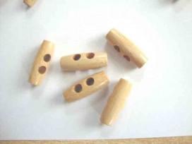 Een 2-gaats houtje/touwtje knoop. 30 mm. lang