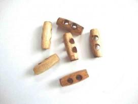 4g Houtje/touwtje knoop 2-gaats Bruin 25 mm. htb-25