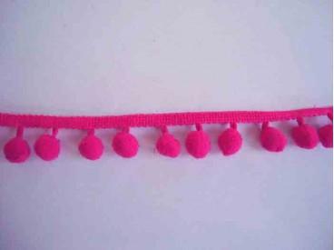 3o Sierband pom pom mini Fluor Pink 3954