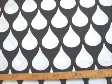 Katoen Zwart/Wit Grote witte druppel 2476-69N