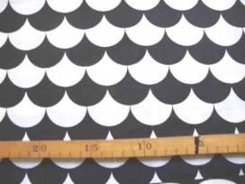 Katoen Zwart/Wit Gebogen halve cirkel 2464-69N