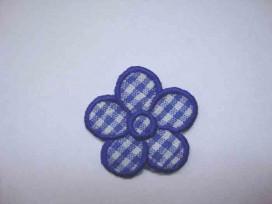 Kobalt blauwe boerenbont bloem applicatie