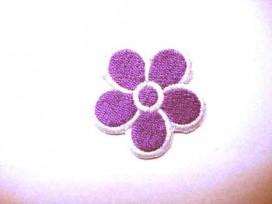 Paarse bloem applicatie met wit randje groot