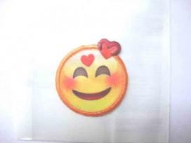 Smiley applicatie klein met 2 hartjes