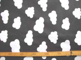5m Katoen Zwart/Wit Wolkjes gedraaid 2472-69N