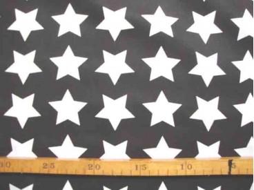 Poplin Katoen Zwart/Wit Grote Ster 2478-69N