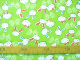 Kinderkatoen Limegroen met konijn/poezenhoofdjes 412-W