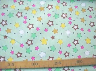 Kinderkatoen Limegroen met gekleurde sterretjes 406-W