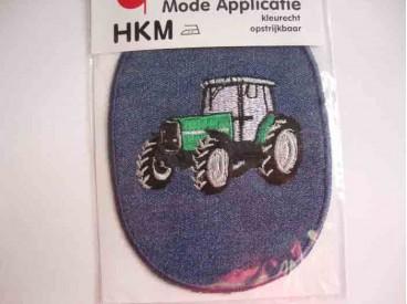 Groene tractor opstrijkbare applicatie van 12 x 8 cm.