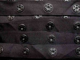 Drukkertjesband Zwart  25mm