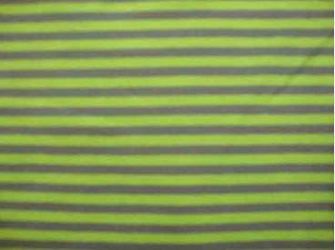 Een 2 kleurige streep tricot, lime/grijs Rekt zowel in de breedte als in de lengte. De streepjes zijn 5 mm. breed 95%co/5%el. 1,
