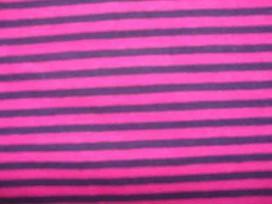Een 2 kleurige streep tricot, donkerpaars/pink Rekt zowel in de breedte als in de lengte. De streepjes zijn 5 mm. breed 95%co/5%
