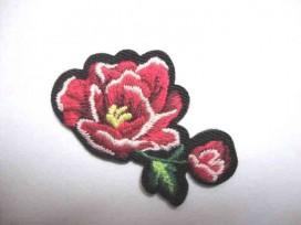 Applicatie Rozen Klein Rood 2 bloemen RK5