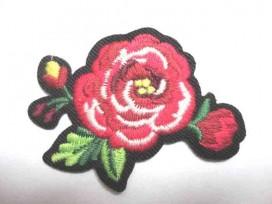 5c Applicatie Rozen Groot Rood 2 bloem/blad RG3