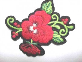 Rozen applicatie Grote Roos Rood 2 bloem/krul