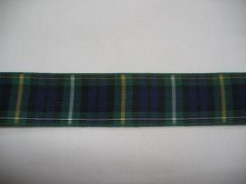 Sierband blauw/groen geruit 25mm