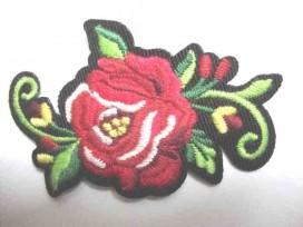 Applicatie Rozen Groot Rood met bloem en krul RG9