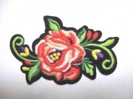 Applicatie Rozen Groot Roze met bloem en krul RG10