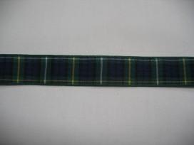 Sierband blauw/groen geruit 15mm