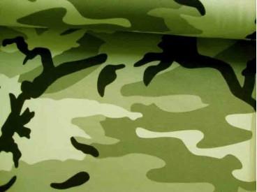 Deze tricot  met legerprint heeft de meest originele kleuren print.  96%katoen/4% elastan  1.50 mtr. breed  220 gr/M2