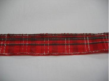9zc Sierband rood met groene streep en gouddraad 27mm.